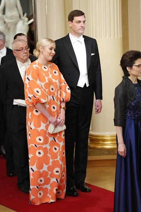 Marimekon toimitusjohtaja Tiina Alahuhta-Kasko pukeutui päästä varpaisiin Unikkoon.