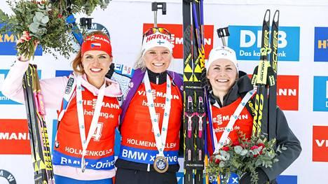 Mari Laukkanen nousi Holmenkollenilla korkeimmalle korokkeelle myös lauantaina.