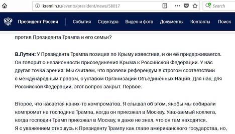 """Kremlin virallisilla nettisivuilla Putinin vastauksesta on pudotettu pois yksi ratkaiseva me-sana. """"Me järjestimme kansanäänestyksen"""" on muuttunut Kremlin sivuilla muotoon """"järjestettiin kansanäänestys""""."""