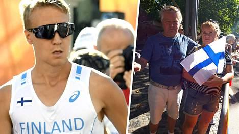 Aku Partanen (vas.) kävelee 50 metrin kisaa Berliinissä. Vanhemmat Kai ja Arja Partanen jännittävät radan varressa.