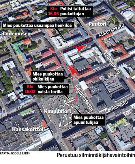 Silminnäköijöiden havaintoihin perustuva kartta Turun hyökkääjän reitistä.