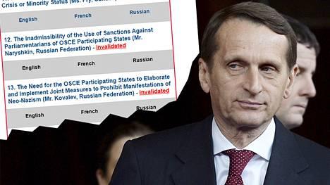 Venäjän duuman puhemies Sergei Naryshkinin oli tarkoitus esittää Etyj-istunnon käsiteltäväksi sanktioiden poistamista parlamentaarikoilta.