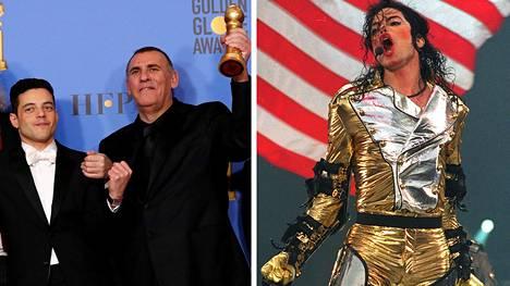 Rami Malekin (vas.) tähdittämän Bohemian Rhapsodyn tuottaja Grahan King (kesk.) on hankkinut oikeuden elokuvaan Michael Jacksonista (oik.).