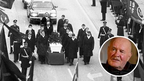 Olof Palmen hautajaissaattue maaliskuussa 1986. Harri Rahikka kommentoi Olof Palmen murhan tutkinnan lopputulosta IS:lle.
