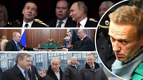 Aleksei Navalnyi (pyöreä kuva) väittää, että Vladimir Putinin iso omaisuus on suurelta osin peräisin läheisistä väleistä isojen yritysjohtajien kanssa.
