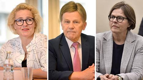 Europarlamentaarikot Miapetra Kumpula-Natri, Mauri Pekkarinen ja Heidi Hautala.