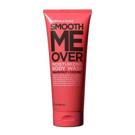 Formula 10.0.6 -sarjan Smooth Me Over Moisturizing Body Wash -suihkugeeli tuoksuu herkullisille greipille ja kookokselle, 7,90 € / 300 ml.