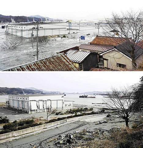 Amatöörivalokuvaajan ottama yhdistelmäkuva näyttää, miten aalto on nielaissut talot Kesennuman kaupungissa Miyagin alueella.