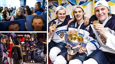 Patrik Laine (oik.), Sebastian Aho ja Jesse Puljujärvi juhlivat nuorten MM-kultaa tammikuussa 2016. Samana keväänä kolmikko nostatti kiekkohuumaa ympäri Suomea.