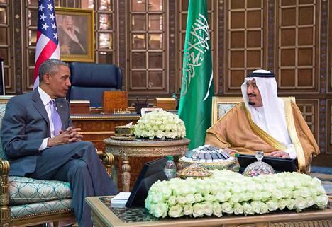 Barack Obama tapasi keskiviikkona Riadissa Saudi-Arabian kuninkaan Salmanin.