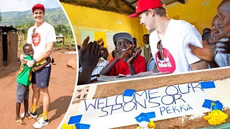 Pekka Hyysalo tapasi kummipoikansa Evansin tämän kotikylässä Keniassa.