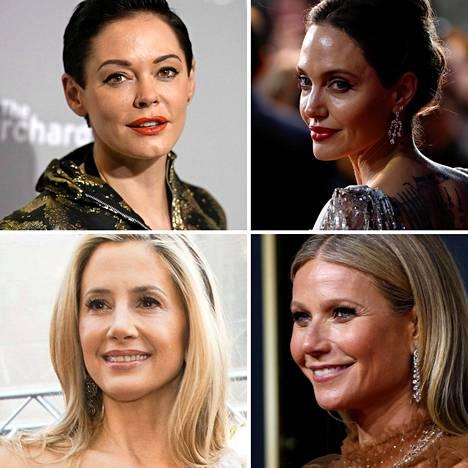 Rose McGowan (ylh. vas), Angelina Jolie (ylh. oik.), Ashley Judd (alh. vas) ja Gwyneth Palthrow ovat syyttäneet Weinsteinia ahdistelusta.