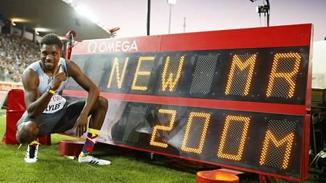 Noah Lyles tykitti Lausannen 200 metrillä hurjan ajan 19,50.