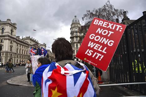 """""""Brexit: ei taida kovin hyvin mennä, vai häh?"""", lukee vapaasti suomennettuna mielenosoittajan kyltissä."""
