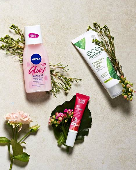 Nivea Glow Eye Make-Up Remover -silmämeikinpuhdistusaine poistaa hellävaraisesti jopa erittäin vedenkestävän silmämeikin ja ripsivärin, 4,45 €. Eco by Herbina -kirkastava kuorintavoide sisältää rauhoittavaa mustikkauutetta, hoitavaa ruusunmarjauutetta ja ihoa suojaavaa E-vitamiinia, 8,90 €. Cien Nature Organic Pomegranate & Goji Berries Eye Cream -silmänympärysvoide pehmentää ja kosteuttaa kuivaa silmänympärysihoa tehokkaasti, 3 €.