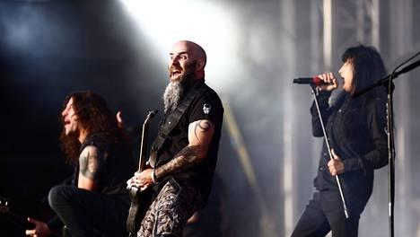 Anthrax esiintyi Tuska Open Air Festivalissa kesällä 2014.
