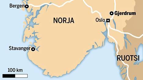 Maanvyöry tapahtui Gjerdrumissa, muutaman kymmenen kilometrin päässä Oslosta.