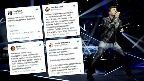 Sebastian Rejman nousi viisulavalle tiistai-iltana Tel Avivissa. Euroviisujen ensimmäistä semifinaalia kommentoitiin kiivaasti sosiaalisessa mediassa.
