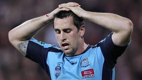 Mitchell Pearce vuonna 2011 pelatessaan New South Walesin joukkueessa.