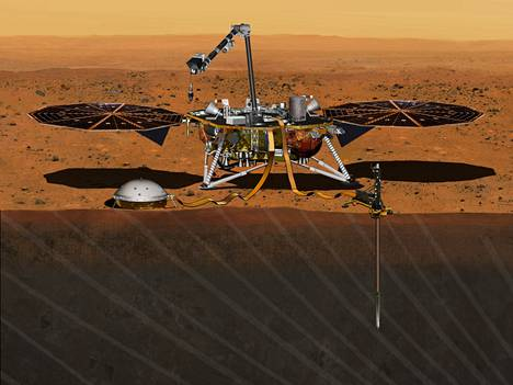 Taiteilijan näkemys InSight Mars Landeristä.