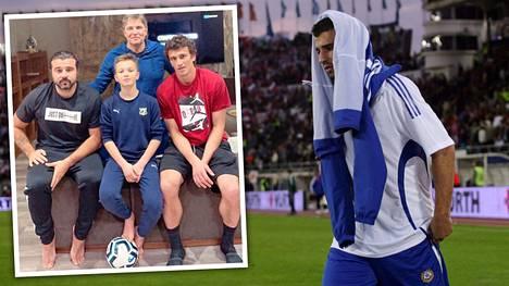 Alexei Eremenko junior pelaajana sydäntä raastavassa ottelussa Suomi–Venäjä. Perhekuvassa vasemmalla Alexei junior, keskellä hänen poikansa Daniil.