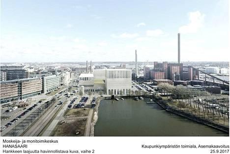 Havainnekuva suunnitellusta moskeija- ja monitoimikeskuksesta Hanasaaressa.