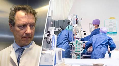 Ylilääkäri Eero Hirvensalo on ollut paljon julkisuudessa esimerkiksi selittäessään Kaakkois-Aasian tsunamin, Myyrmannin räjähdyksen ja Jokelan ampumistragedian seurauksia. Kuva oikealla: Covid-19-tautiin sairastunutta potilasta tehohoidetiin HUS:ssa huhtikuussa.