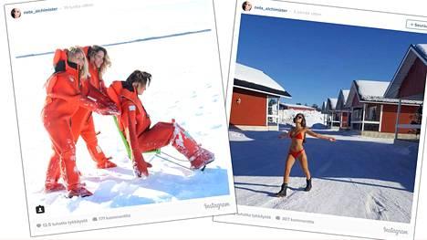 Neta Alchimister nauttii Lapin talvisista maisemista ystäviensä kanssa.