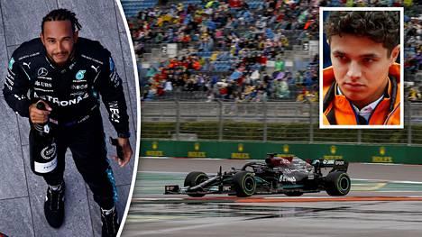 Lewis Hamilton juhli voittajana, Lando Norris joutui pettymään.