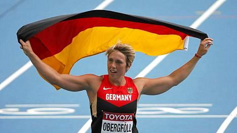 Christina Obergföll vei vihdoin keihäskullan.