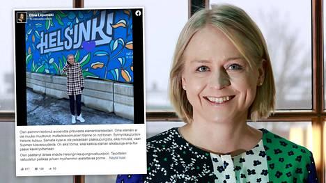 Elina Lepomäki ilmoitti aikeistaan Facebook-sivullaan sunnuntaina.