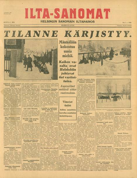 Ilta-Sanomien ensimmäinen numero vuonna 1932 kertoi Mäntsälän kapinasta.