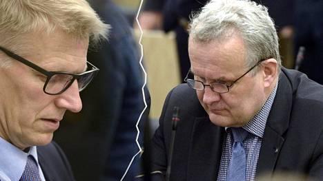 Keskustan kansanedustaja Hannu Hoskonen (oik.) haluaa äänestyttää Kimmo Tiilikaisen luottamuksen.