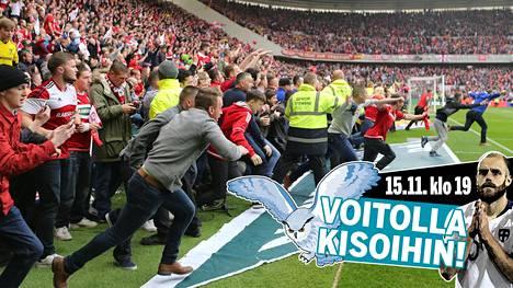 Tätä ei haluta missään nimessä nähdä Suomen EM-karsintapelissä Liechtensteinia vastaan perjantaina. Brittiseura Middlesbrough'n fanit ryntäsivät kentälle, kun nousu Valioliigaan varmistui toukokuussa 2016.