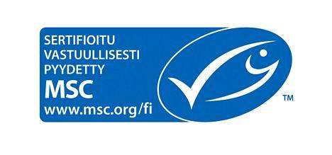 Vastuullisesti pyydetyn tonnikalan tunnistaa tästä MSC:n merkistä etiketissä.