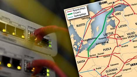 RETN-yhteenliittymän tiedoista koostettu kartta näyttää, miten tietoliikennekaapelit kulkevat Euroopassa. Kartta on suurempana jutun lopussa.
