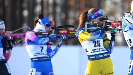 Kuvituskuvaa maaliskuisen Kontiolahden maailmancupin naisten takaa-ajokisasta.