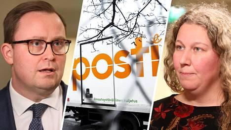 Posti- ja logistiikka-alan unioni PAU:n puheenjohtaja Heidi Nieminen sekä Palvelualojen työnantajat Palta ry:n toimitusjohtaja Tuomas Aarto jatkoivat TES-neuvotteluja valtakunnansovittelija Vuokko Piekkalan johdolla Helsingissä 13. marraskuuta 2019.
