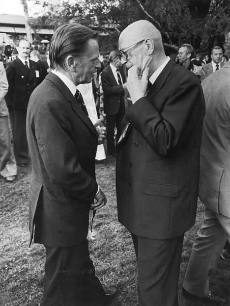 Olof Palme ja presidentti Urho Kekkonen Helsingin Etyk-huippukokouksessa 1975.