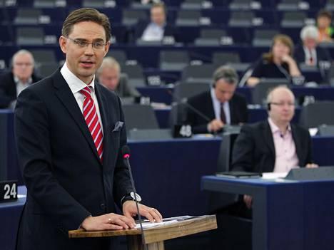 Jyrki Katainen piti puheen Euroopan parlamentissa viime vuoden huhtikuussa.