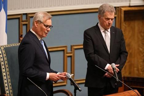 Antti Rinne ja Sauli Niinistö valtiopäivien avajaisissa huhtikuussa.