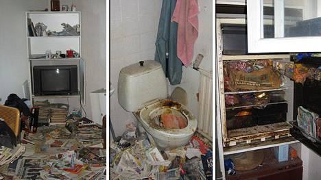 Asunto oli läpikotaisin siivottomassa kunnossa.