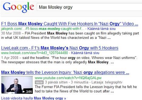 News of the Worldin Mosley -paljastus oli aikoinaan Googlen hakutulosten kärjessä.