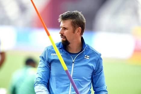 Antti Ruuskanen Dohan MM-kisoissa viime lokakuussa. Hänen kisansa päättyivät yllättäen karsintoihin.