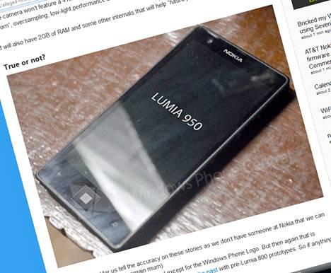 Kuvan väitetään esittävän julkistamatonta Nokia Lumia 950 -älypuhelinta. Sen aitoudesta ei ole takeita, mutta asia voi varmistua puoleen tai toiseen tiistaina Lontoossa.