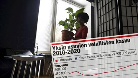 Yksin asuvien suomalaisten velat ovat lähtökohtaisesti pienimmästä päästä, ja heistä yli puolella velkaa oli viime vuonna alle 20000 euroa. Kuitenkin tästä porukasta pienellä joukolla oli kontollaan yli 300000 euron jättivelka.