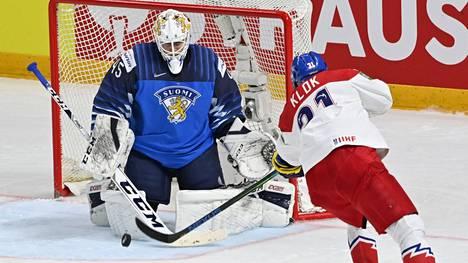 Jussi Olkinuora torjui Tshekkiä vastaan puolivälierissä huikean nollapelin.