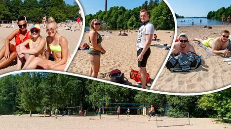 Rosendahlin rannalla Tampereella viihdyttiin auringossa.