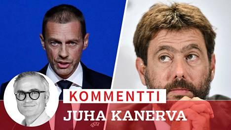 Uefan puheenjohtaja Aleksander Ceferin (vas.) ja uutta superliigaa puuhaava Juventus-pomo Andrea Agnelli käyvät valtataistelua kabineteissa.