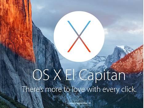 Apple nimesi uusimman Mac-käyttöjärjestelmänsä Yosemite-kansallispuiston ehkä tunnetuimman huipun El Capitanin mukaan.